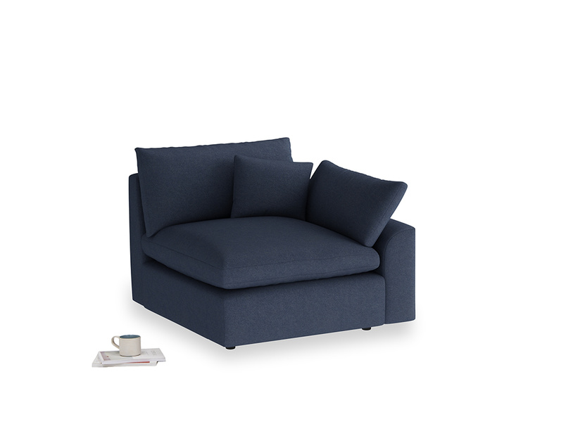 Cuddlemuffin Single Seat in Night Owl Blue Clever Woolly Fabric with a left arm