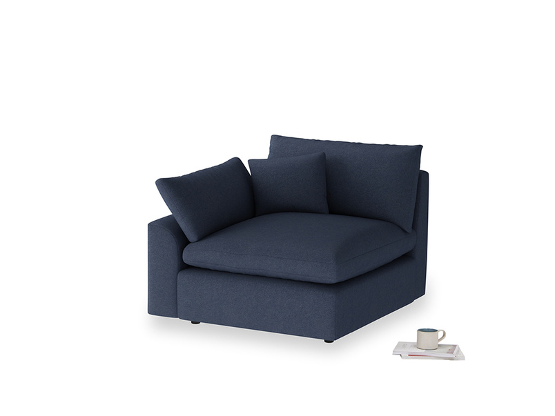 Cuddlemuffin Single Seat in Night Owl Blue Clever Woolly Fabric with a right arm