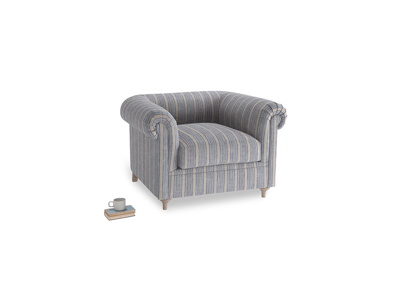 Humblebum Armchair in Brittany Blue french stripe