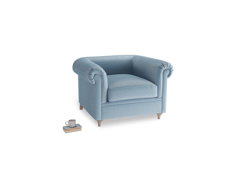 Humblebum Armchair in Chalky blue vintage velvet