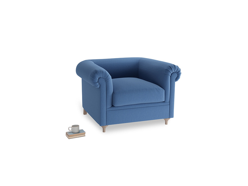 Humblebum Armchair in English blue Brushed Cotton