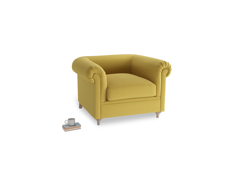 Humblebum Armchair in Maize yellow Brushed Cotton