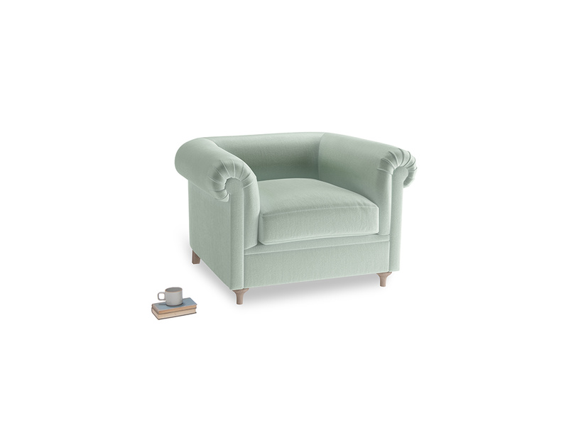 Humblebum Armchair in Mint clever velvet