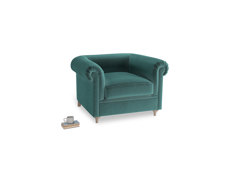 Humblebum Armchair in Real Teal clever velvet