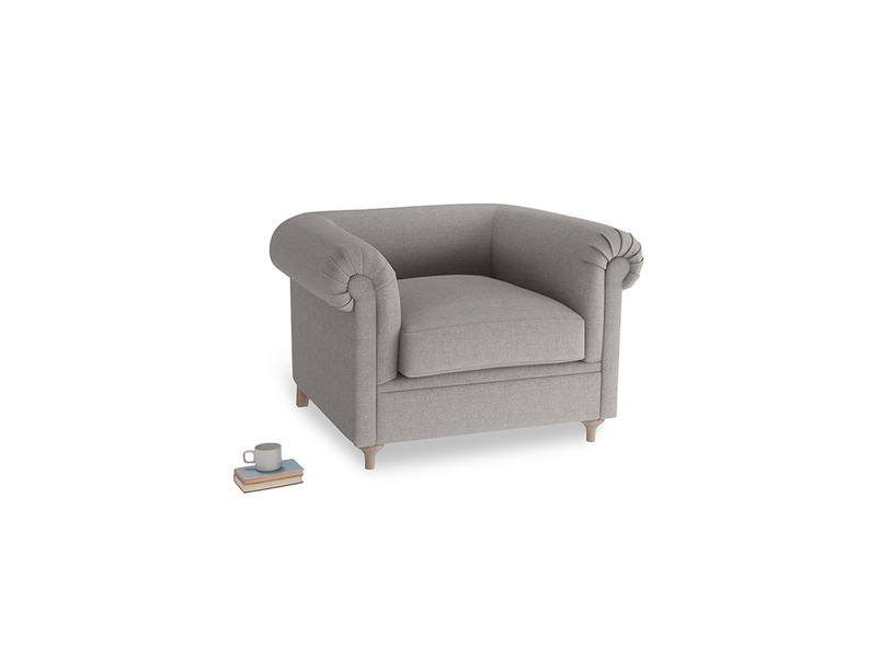 Humblebum Armchair in Marl grey clever woolly fabric