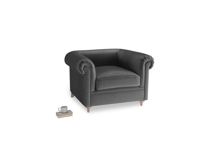 Humblebum Armchair in Scuttle grey vintage velvet