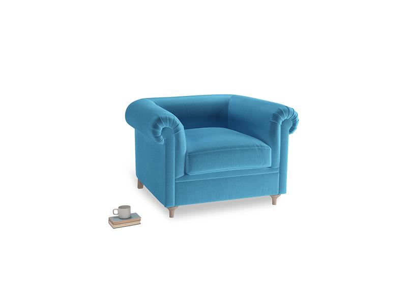 Humblebum Armchair in Teal Blue plush velvet