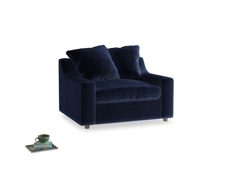 Cloud love seat sofa bed in Goodnight blue Clever Deep Velvet