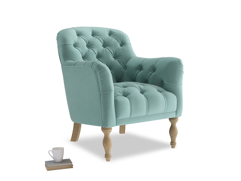 Reader Armchair in Greeny Blue Clever Deep Velvet
