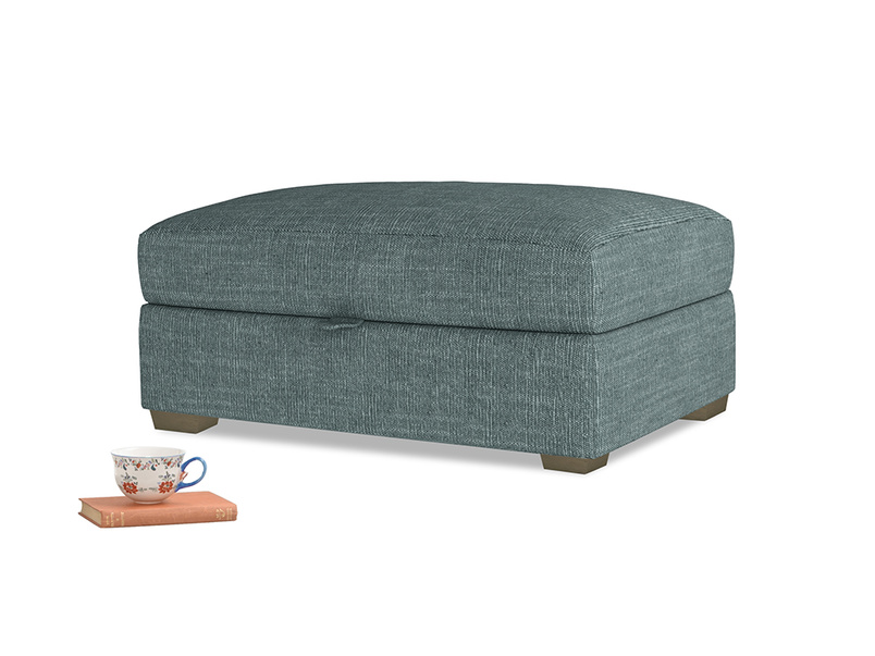 Bumper Storage Footstool in Anchor Grey Clever Laundered Linen