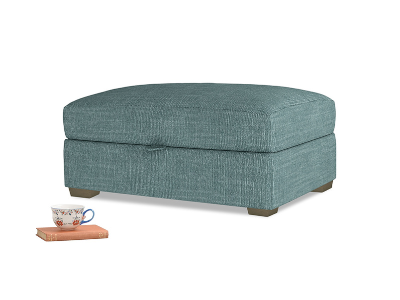 Bumper Storage Footstool in Blue Turtle Clever Laundered Linen