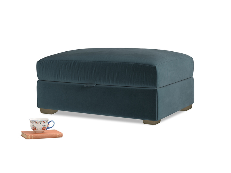 Bumper Storage Footstool in Bluey Grey Clever Deep Velvet