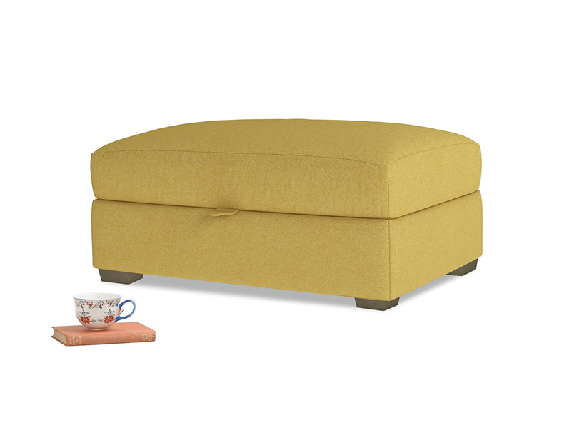 Bumper Storage Footstool in Easy Yellow Clever Woolly Fabric