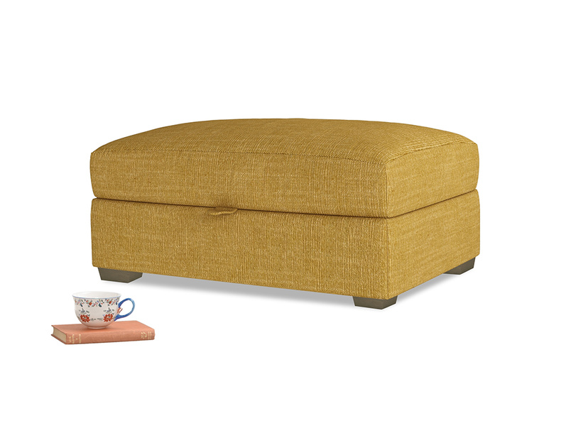 Bumper Storage Footstool in Mellow Yellow Clever Laundered Linen
