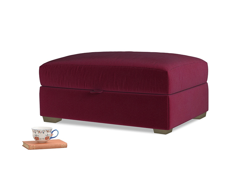 Bumper Storage Footstool in Merlot Plush Velvet
