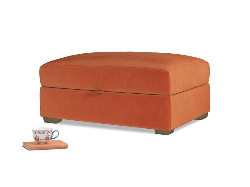Bumper Storage Footstool in Old Orange Clever Deep Velvet