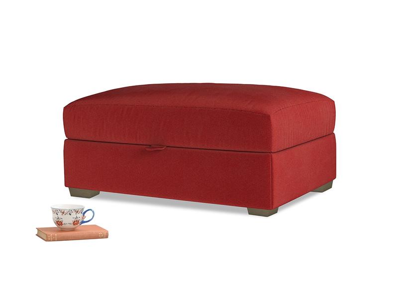 Bumper Storage Footstool in Rusted Ruby Vintage Velvet