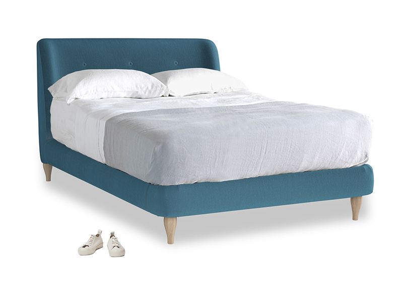 Double Puffball Bed in Old blue Clever Deep Velvet