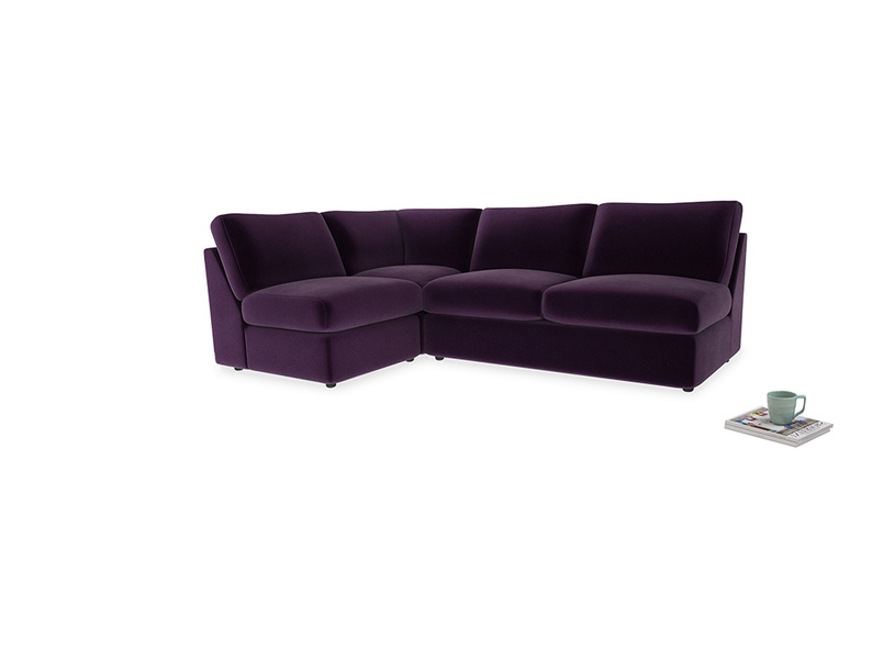 Large left hand Chatnap modular corner storage sofa in Deep Purple Clever Deep Velvet