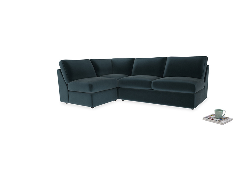 Large left hand Chatnap modular corner storage sofa in Bluey Grey Clever Deep Velvet