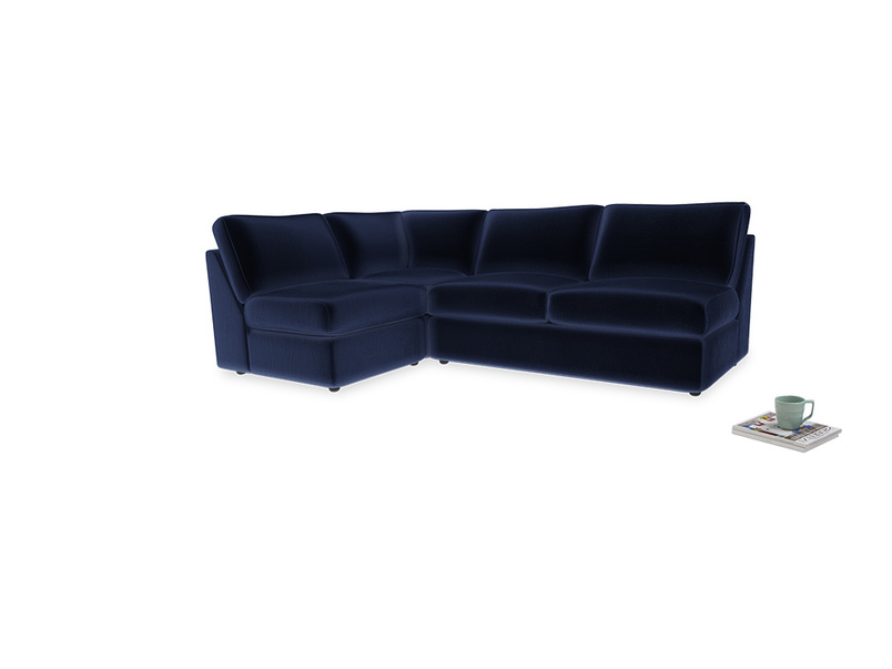 Large left hand Chatnap modular corner storage sofa in Goodnight blue Clever Deep Velvet