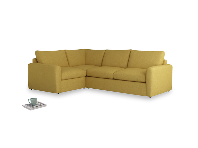 Large left hand Chatnap modular corner storage sofa in Easy Yellow Clever Woolly Fabric with both arms