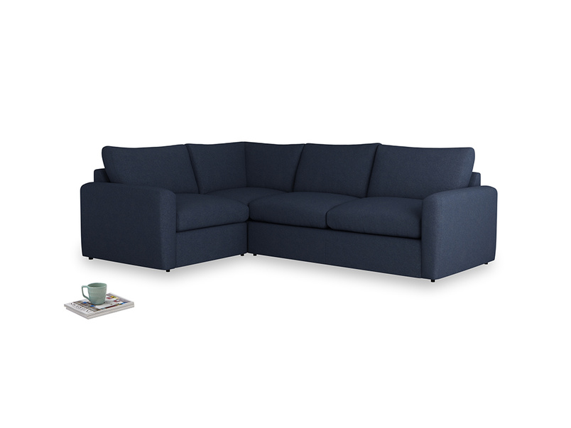 Large left hand Chatnap modular corner storage sofa in Night Owl Blue Clever Woolly Fabric with both arms