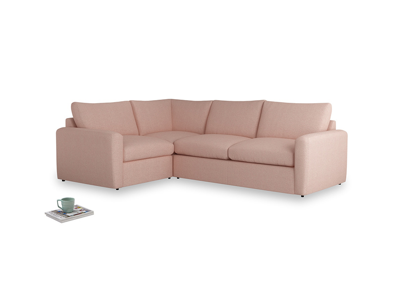 Large left hand Chatnap modular corner storage sofa in Pale Pink Clever Woolly Fabric with both arms