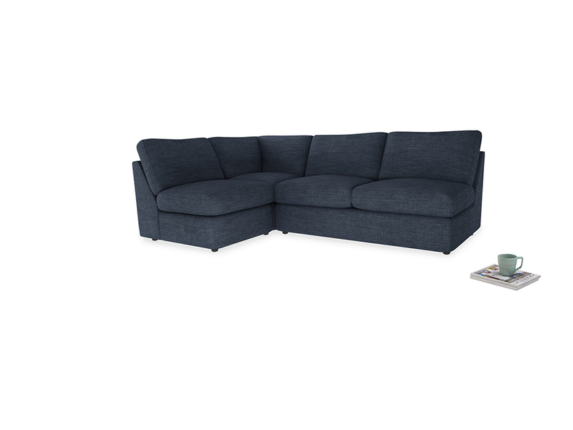 Large left hand Chatnap modular corner storage sofa in Selvedge Blue Clever Laundered Linen