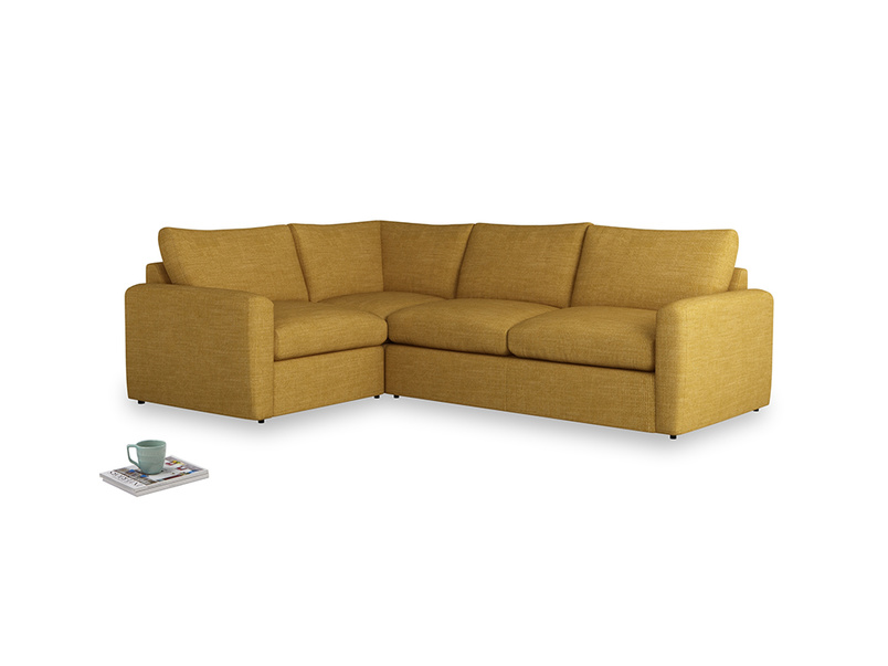 Large left hand Chatnap modular corner storage sofa in Mellow Yellow Clever Laundered Linen with both arms
