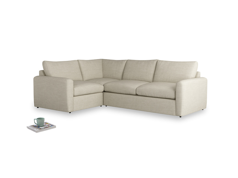 Large left hand Chatnap modular corner storage sofa in Shell Clever Laundered Linen with both arms