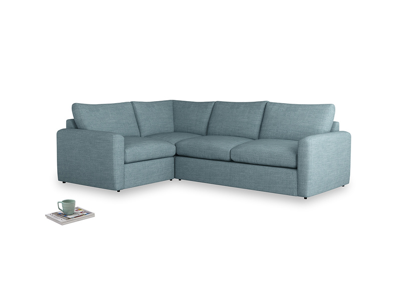 Large left hand Chatnap modular corner storage sofa in Soft Blue Clever Laundered Linen with both arms