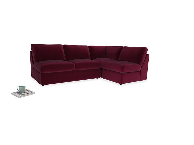 Large right hand Chatnap modular corner storage sofa in Merlot Plush Velvet