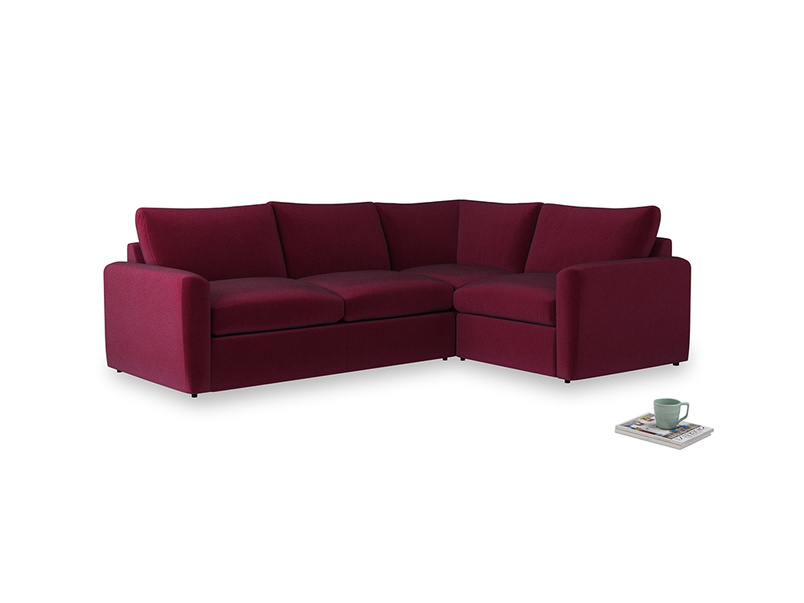 Large right hand Chatnap modular corner storage sofa in Merlot Plush Velvet with both arms