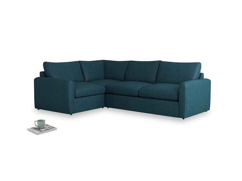 Large left hand Chatnap modular corner storage sofa in Harbour Blue Vintage Linen with both arms