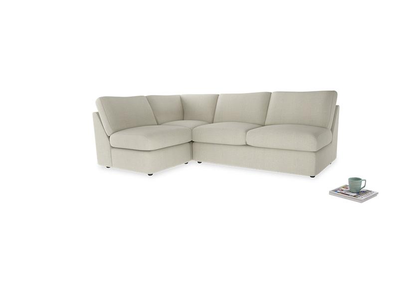 Large left hand Chatnap modular corner storage sofa in Stone Vintage Linen