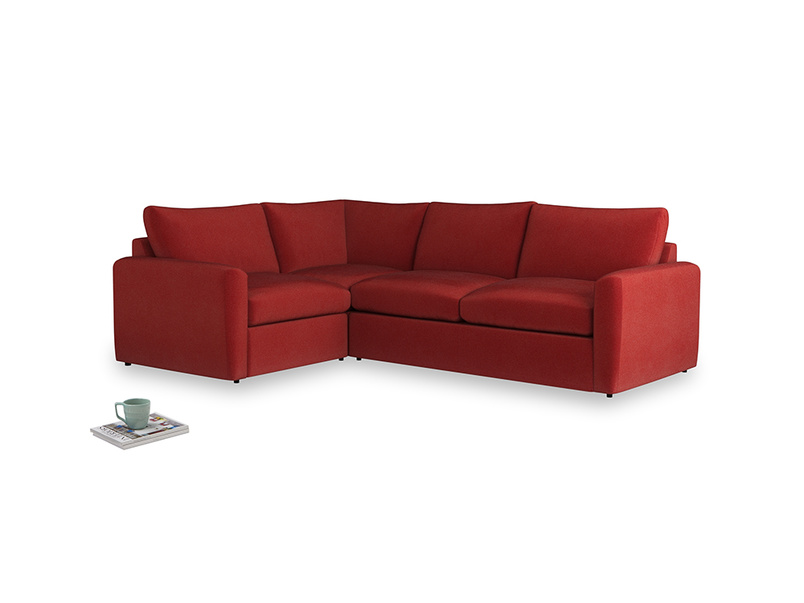 Large left hand Chatnap modular corner storage sofa in Rusted Ruby Vintage Velvet with both arms