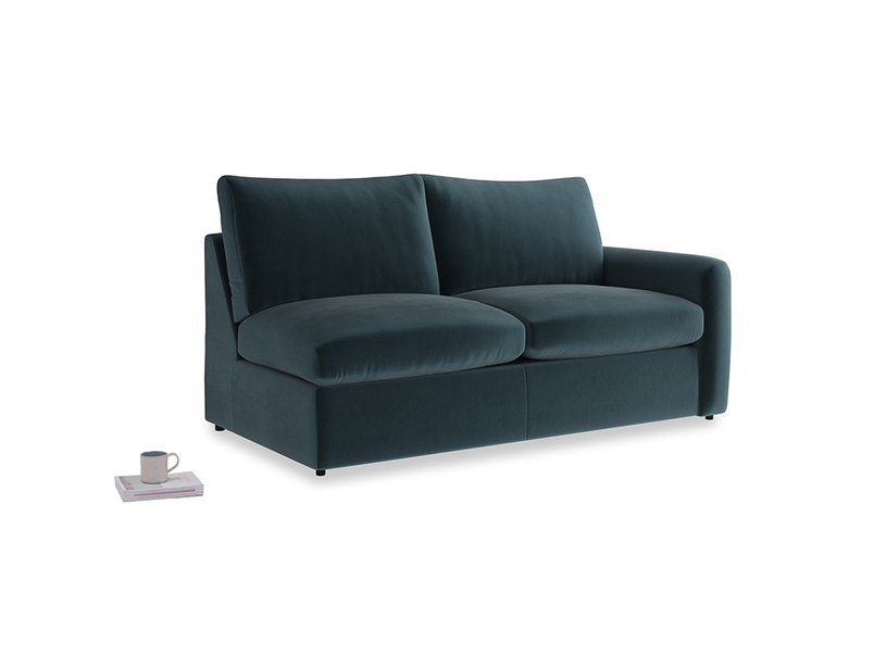 Chatnap Sofa Bed in Bluey Grey Clever Deep Velvet with a right arm