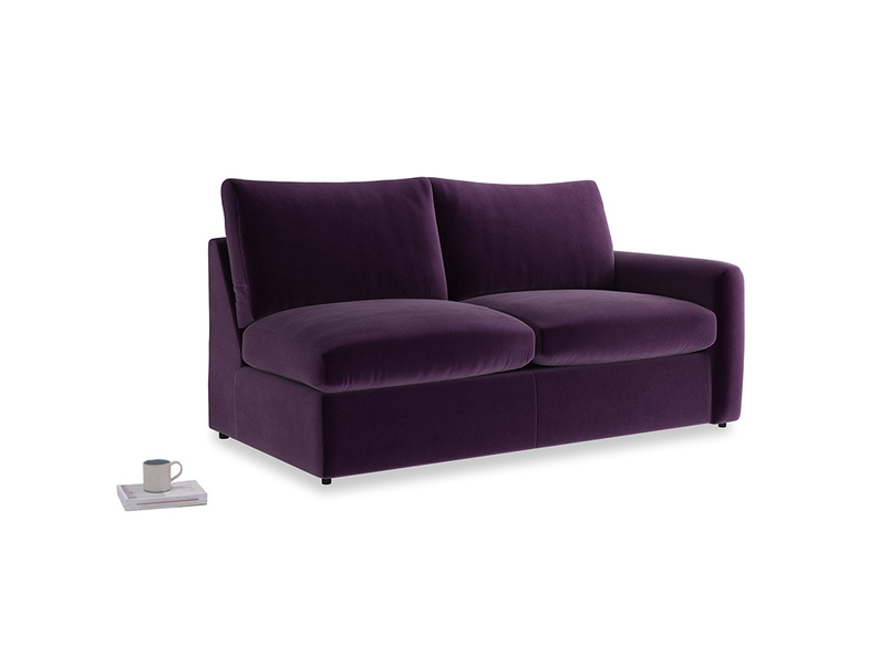 Chatnap Sofa Bed in Deep Purple Clever Deep Velvet with a right arm