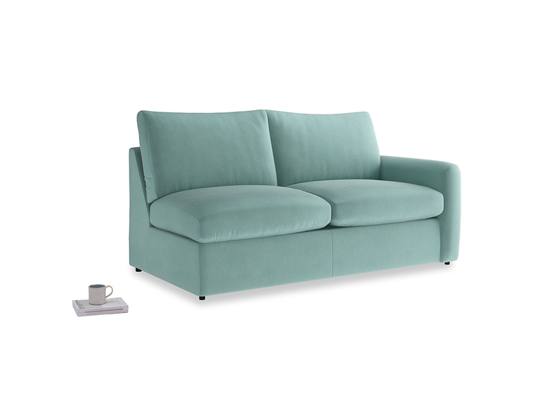 Chatnap Sofa Bed in Greeny Blue Clever Deep Velvet with a right arm