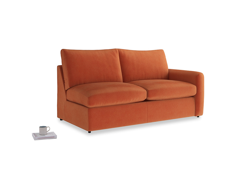 Chatnap Sofa Bed in Old Orange Clever Deep Velvet with a right arm