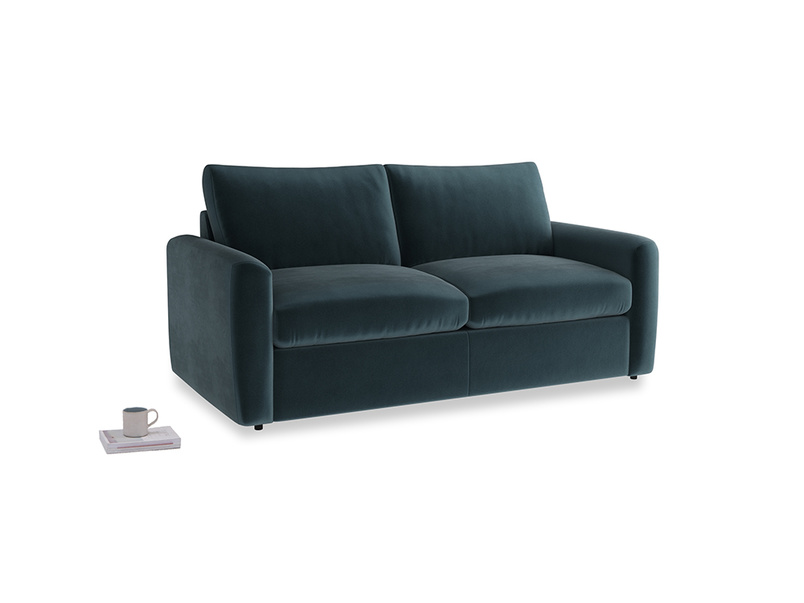 Chatnap Sofa Bed in Bluey Grey Clever Deep Velvet with both arms