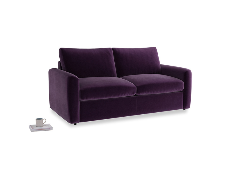 Chatnap Sofa Bed in Deep Purple Clever Deep Velvet with both arms