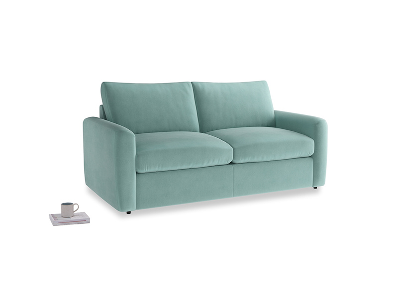 Chatnap Sofa Bed in Greeny Blue Clever Deep Velvet with both arms