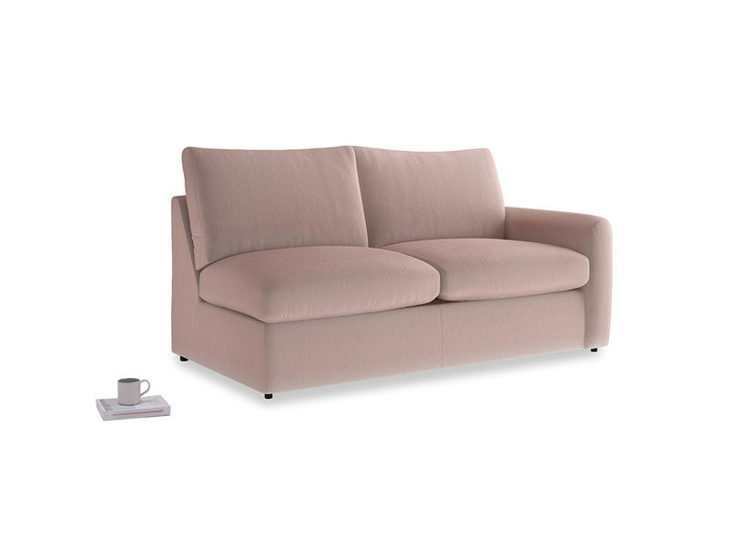 Chatnap Sofa Bed in Rose quartz Clever Deep Velvet with a right arm