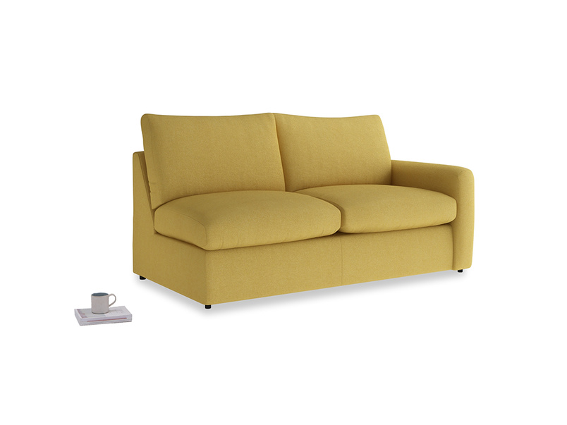 Chatnap Sofa Bed in Easy Yellow Clever Woolly Fabric with a right arm