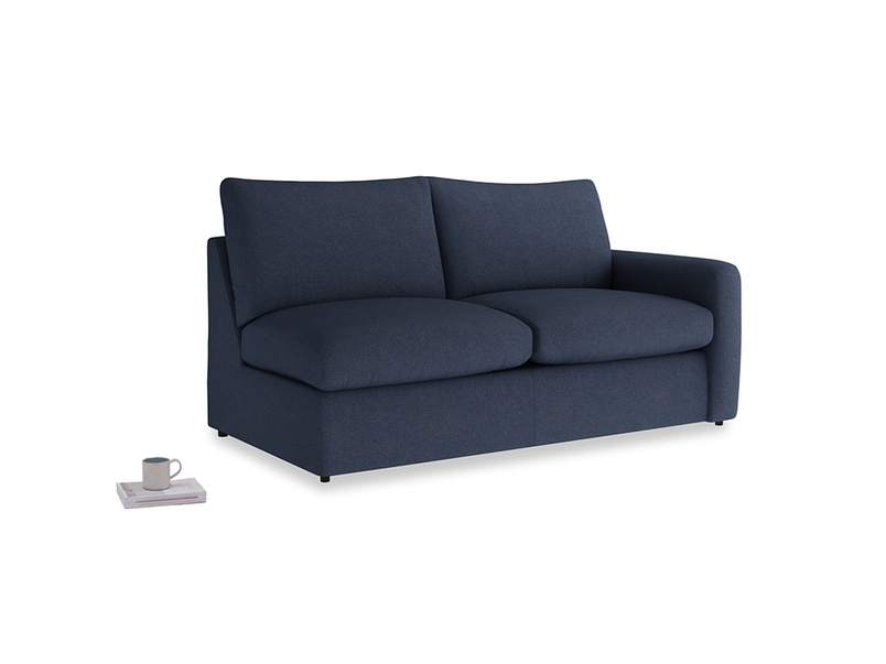 Chatnap Sofa Bed in Night Owl Blue Clever Woolly Fabric with a right arm