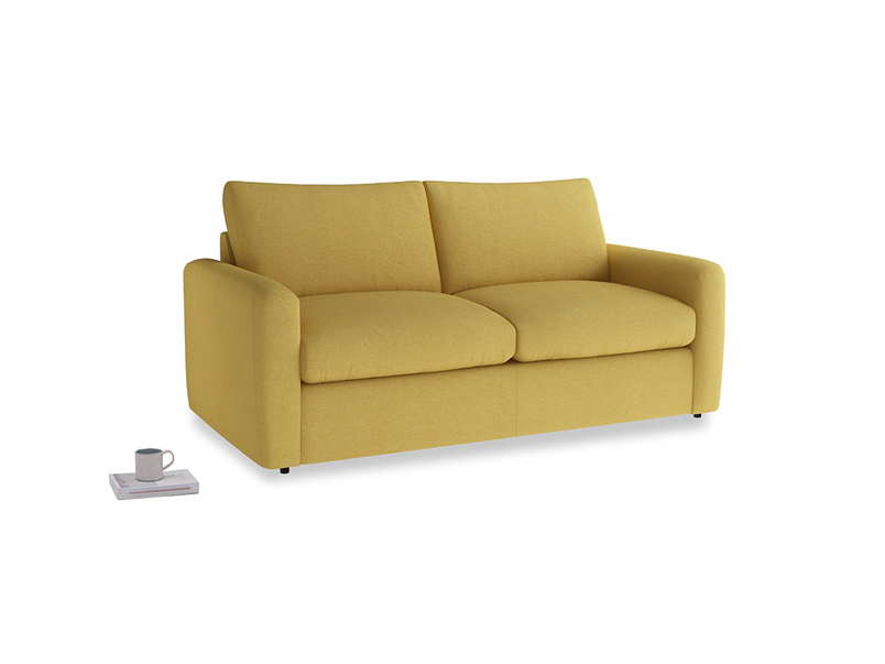 Chatnap Sofa Bed in Easy Yellow Clever Woolly Fabric with both arms