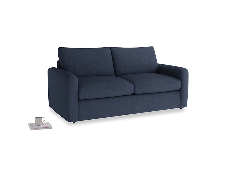 Chatnap Sofa Bed in Night Owl Blue Clever Woolly Fabric with both arms
