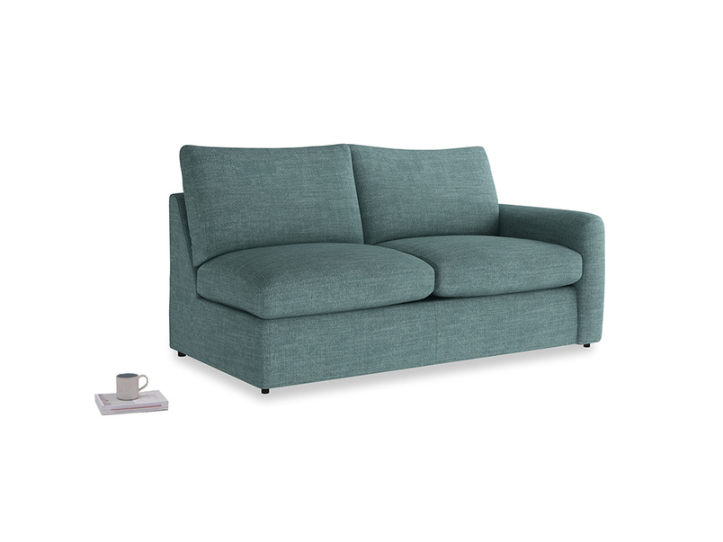 Chatnap Sofa Bed in Blue Turtle Clever Laundered Linen with a right arm